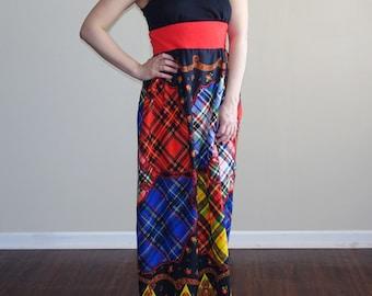 Vintage S Full Length 1970s Sleeveless Maxi Dress