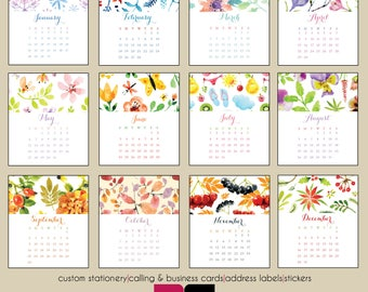 2018 Desk Calendar - Watercolor Designs with Clear Case