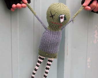 BEWARE Zombie Brad hand knit soft toy friend - 100% cotton original plush monster friend, featured in STUFFED magazine!