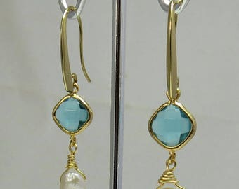 Faceted Blue Crystal Glass and Keishi Pearl Drop Earrings
