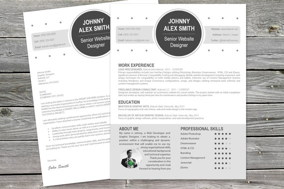 Modern Cover Letter plus Resume Template for Creatives