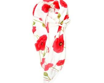 Sample sale: Large artistic poppy flowers print scarf