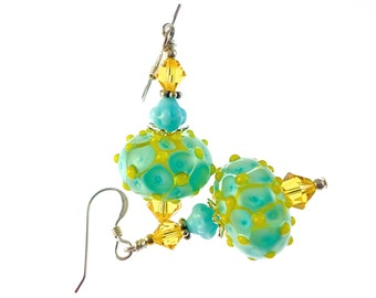 Lampwork Earrings, Turquoise Yellow Earrings, Glass Bead Earrings, Beadwork Earrings, Glass Bead Jewelry, Lampwork Jewelry