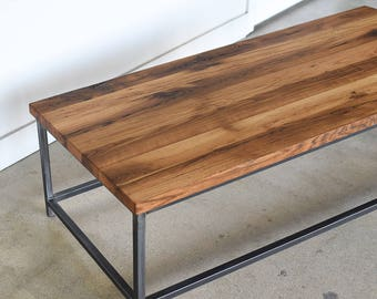 Industrial Coffee Table made from Reclaimed Wood / Steel Box Frame