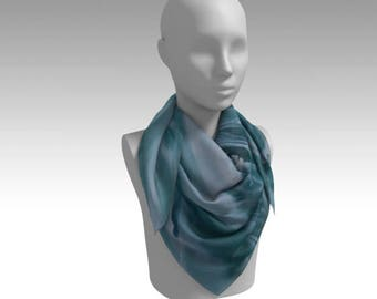 "Fine Art ""Aquamarine"" Scarf/Head Scarf/Wrap/Accessory/Gifts for Her"