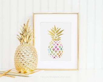 Pineapple Print, Pineapple Wall Art, Gold Foil Pineapple, Desk Accessories, Floral Print, Wall Art, Tropical Wall Art, Floral Print, Print