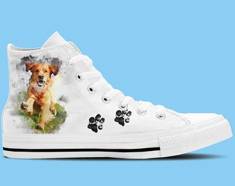 Golden Retriever Dog Artwork High Top Shoes / Sneakers - Dog lovers shoes