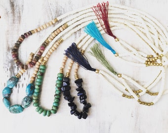 Mixed media boho necklace, crystal necklace, boho necklace, tassel necklace, long necklace, gemstone necklace, layering necklace, hippy boho
