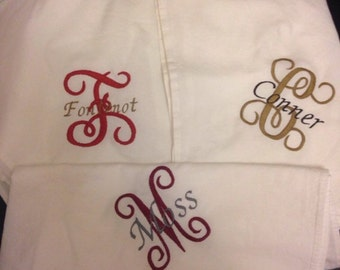 Flour sack hand towels for kitchen/bathroom/diaper bags/burp rags/anything really! Monogrammed and embroidered to your specifications.