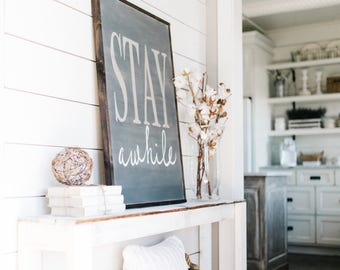 Stay Awhile Sign | Wood Signs | Farmhouse Decor | Stay Awhile | Wall Decor | Farmhouse Sign | Wall Decor | Guest Room Decor | Entryway Decor