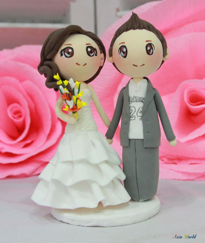 Wedding Cake topper wedding clay couple of Lakers basket ball