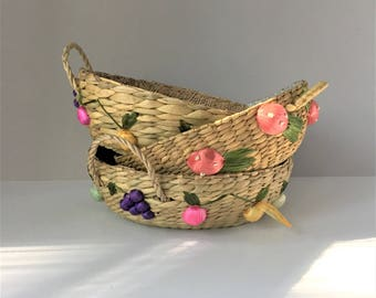 Casserole Baskets, Three Fruit Baskets, Vintage Straw Baskets, Woven Nesting Carriers, Round With Handles and Applied Raffia Fruits