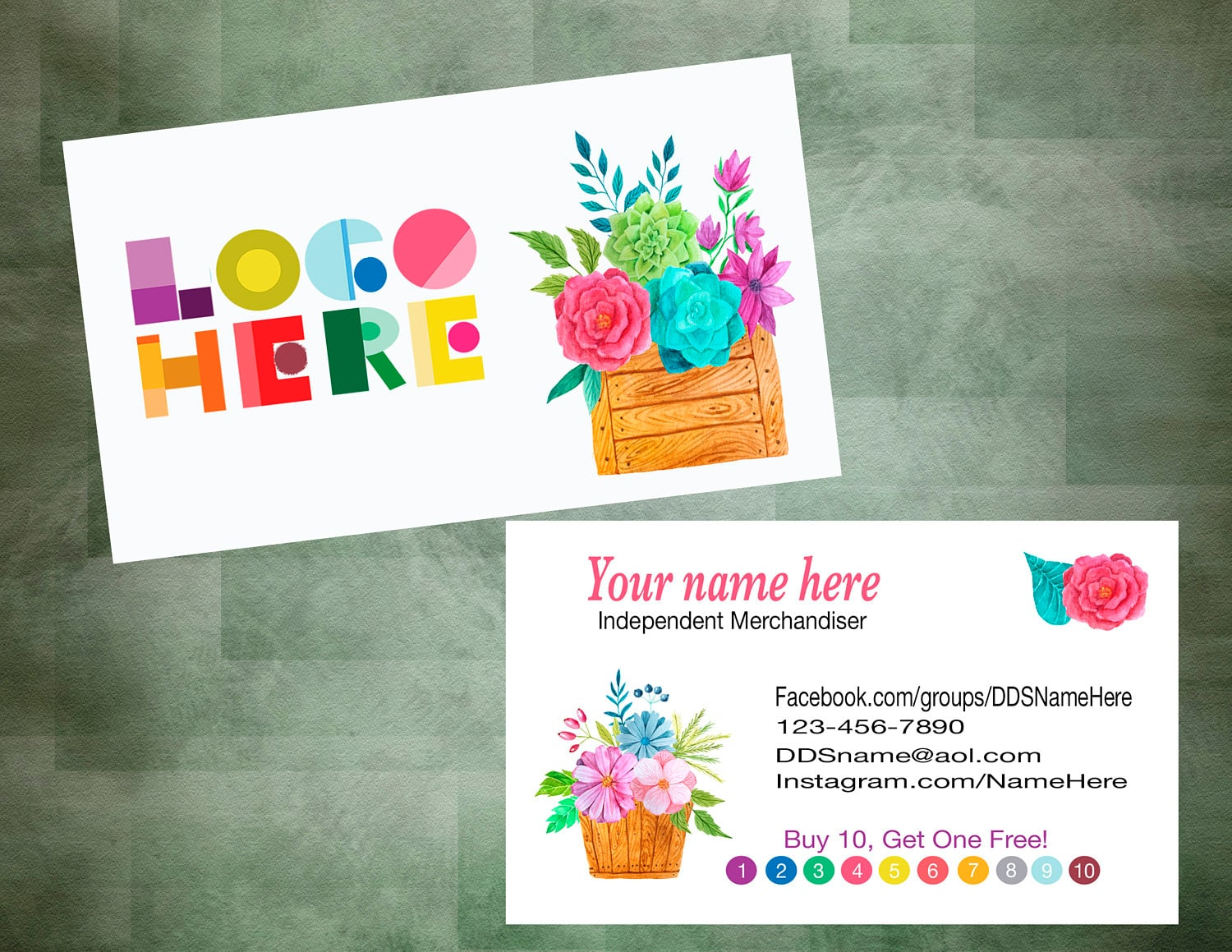 Business Card Buy 10 Get 1 With Flowers Customer
