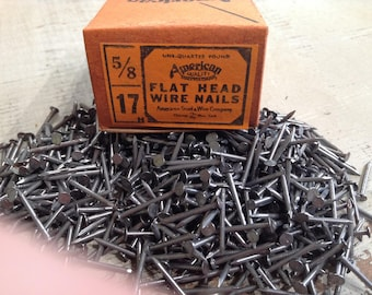 Vintage Nails, Flat Head Nails, Small Nails, Wire Nails, Restoration Hardware, Salvaged Hardware, Carpentry, Woodworking, Craft Supply