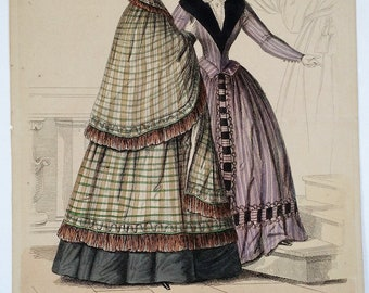 """Early Victorian (1844) Engraved, Hand Colored Fashion Plate, """"Wiener Moden"""", Engraving, Print, Women, Clothing, Period, Antique, Ephemera"""