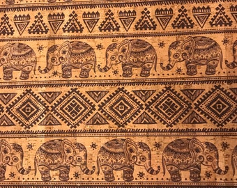 Cork Fabric - Elephants on Parade Print Cork - EcoFriendly - Made in Portugal