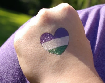 Genderqueer Heart Temporary Tattoo