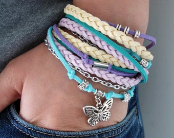 Butterfly Stacked Bracelet, Leather Summer Wrap Bracelet, Yoga Wrap Bracelet, Womens Wrap Bracelet, Braided Leather Bracelet, Teen Gift
