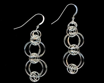 Dangle Earrings Sterling Silver Hammered Wire Hoop Circles Chainmaille Design Modern Minimalists, Eco Friendly Recycled Silver