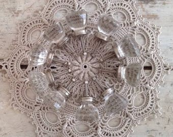 Collection of 10 Clear Glass Vintage Inspired Knobs