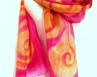 Handpainted Silk Scarf, Hand Painted Silk Scarf, Fuschia Red Golden Yellow, Swirls Abstract