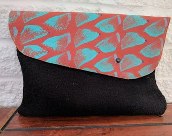 Hand printed leather clutch bag Orange and Turquoise