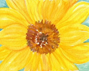 Sunflower watercolor painting original, sunflower artwork 4 x 6 watercolor flower, sunflower decor, watercolor sunflower, sunflower wall art