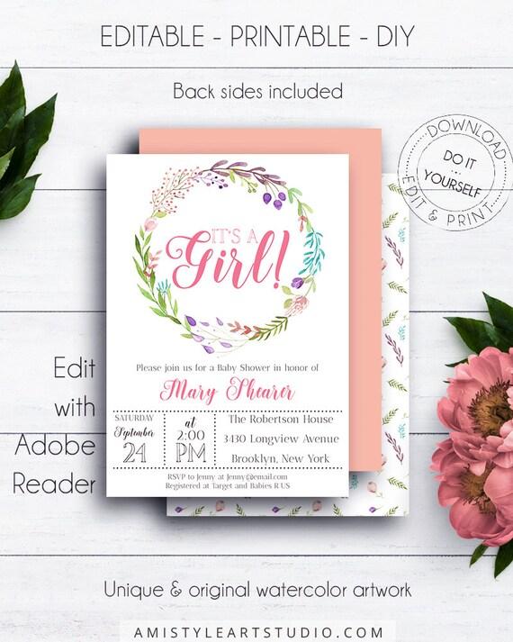 Baby girl shower invitation floral wreath baby shower solutioingenieria Choice Image