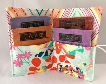 Tea Wallet Blue Tea Bag Wallet Tea Bag Case Tea Bag Holder Tea Holder Tea Bag Cozy Tea Bag Organizer Art Gallery Orchard Blossom in  Joyful