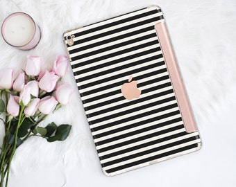 iPad Case . iPad Pro 10.5 . Black Stripes with Rose Gold Smart Cover Hard Case . Kate Spade Inspired
