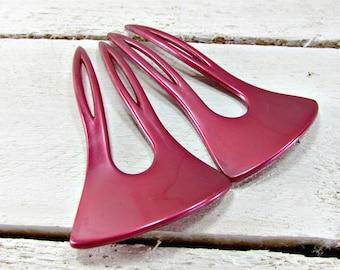 Vintage Red Hair Fork Set / Chignon Pins / Bun Pins / Hair Pins / Hair Sticks, HONG KONG Large Red Plastic, 1980s Fashions, Hair Accessories