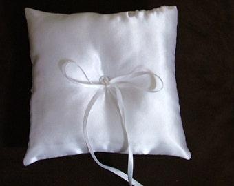 custom made white satin wedding ring bearer pillow