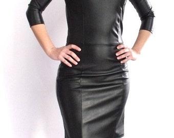 Stretch leatherette midi dress