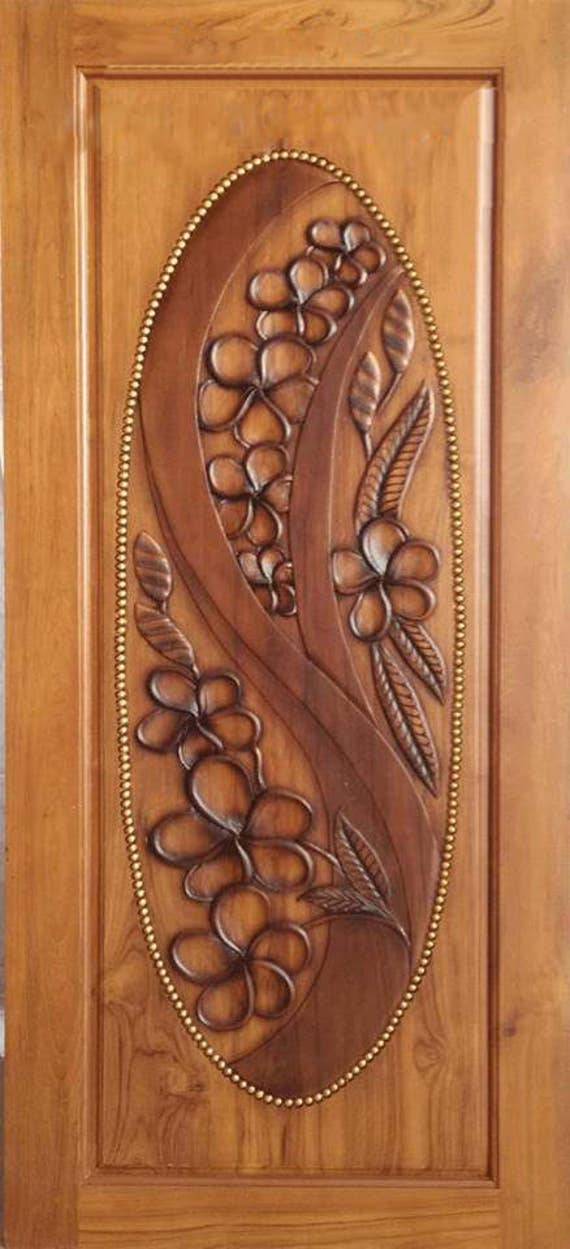 Carved teak wood interior exterior entry entrance front french doors design with flowers. & Carved teak wood interior exterior entry entrance front french doors ...