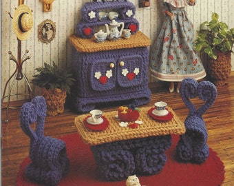 90s Breakfast Room Crochet Doll Furniture for Barbie and Doll Houses Annie's Fashion Doll Home Decor Crochet Collectors Guild  535B