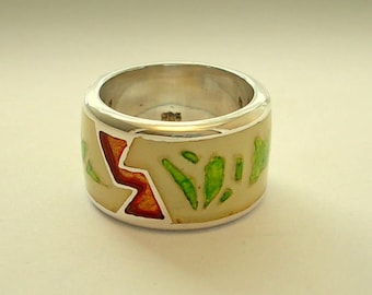 On Sale.White Sister Ring.Silver Art