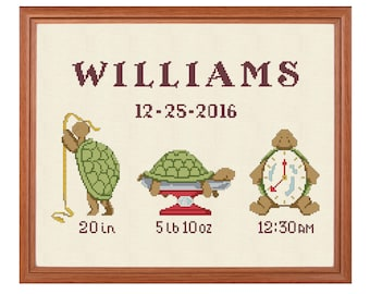 Baby cross stitch birth sampler new baby announcement hand embroidery pattern new baby boy birth record needlepoint customized cross stitch