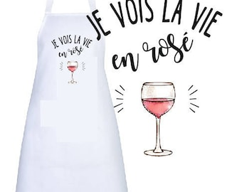 "ADULT apron personalized ""I see life in pink"""