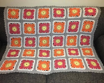 Orange and Strawberry Willow Square Crochet Baby Blanket