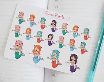 Mermaid Leona Planner Stickers | Stationery for Erin Condren, Filofax, Kikki K and scrapbooking
