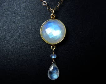 Faceted Rainbow Moonstone Necklace, Faceted Rainbow Moonstone Pendant, Glowing Cobalt Blue, Sky Blue, Aqua, and Gold Fire, Gold Bezel