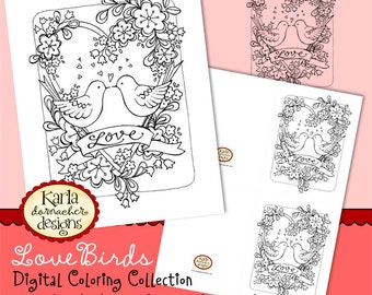 Love Birds Coloring Collection INSTANT DOWNLOAD Art Print Digi Stamp Color Page Digital Printable Download KD134
