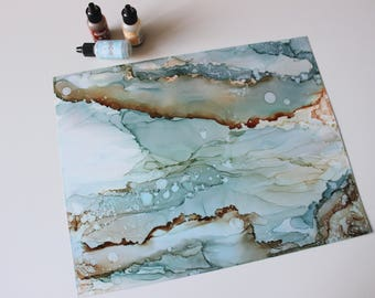 Rustic blue   Original abstract alcohol ink art   Blue and copper painting