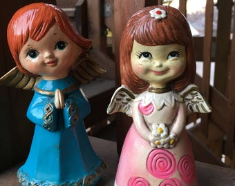 Two Paper Mache Christmas Angel Figurines 1960s