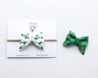 The Allyson Cotton St. Patrick's Day Sailor Bow, Green Plaid Bow, Shamrock Bow, Nylon Headbands, Small Bows, Toddler Hair Clips, Cotton Bow