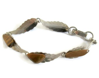 Tiger eye bracelet, silver and tiger eye, gemstone bracelet, tiger eye jewelry, vintage tiger eye, tiger eye and silver bracelet