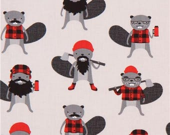 206904 light grey funny lumberjack beaver Robert Kaufman fabric Burly Beavers