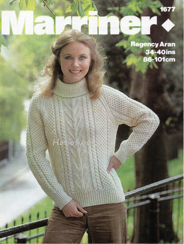 Womens knitting pattern womens aran sweater polo neck crew neck aran ...