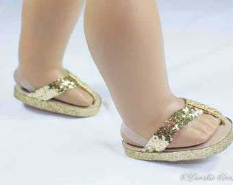 American Girl or 18 inch doll FLIPFLOPS SANDALS SHOES in Gold Sparkle with Clear Heel Strap