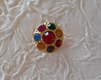 4 buttons vintage haute couture gold tone and rhinestone multicolor. 22 mm. .